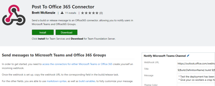 Sending VSTS Build and Release messages to Microsoft Teams